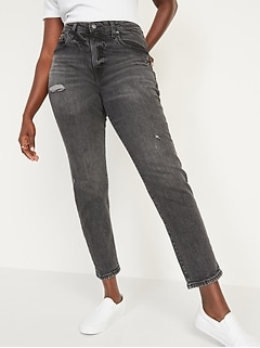 High-Waisted O.G. Straight Ripped Black Ankle Jeans for Women