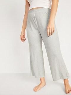 High-Waisted Sunday Sleep Rib-Knit Cropped Wide-Leg Pajama Pants for Women