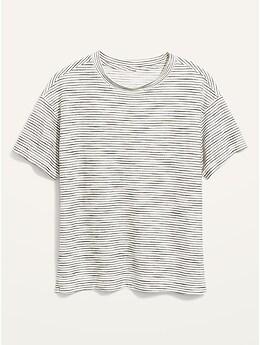 T-shirt ample rétro à rayures texturées pour Femme