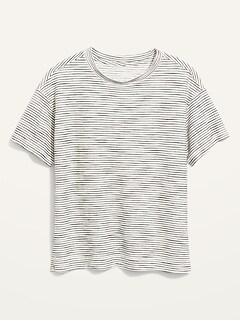 Loose Vintage Textured-Stripe T-Shirt for Women