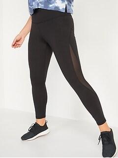High-Waisted Elevate Mesh-Trim 7/8-Length Leggings for Women