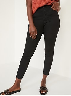 Extra High-Waisted Button-Fly Rockstar 360° Stretch Super Skinny Black Cut-Off Ankle Jeans for Women