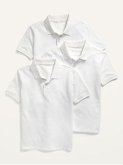 Polo d'uniforme en piqué à extensibilité intégré pour Garçon