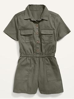 Twill Utility-Pocket Short-Sleeve Romper for Girls