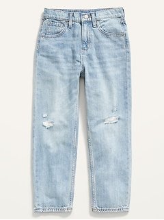High-Waisted Slouchy Straight Built-In Tough Jeans for Girls