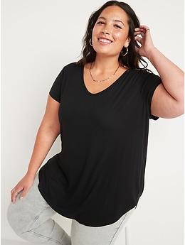 Luxe Short-Sleeve Voop-Neck Tunic Tee for Women