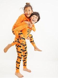 Gender-Neutral Halloween Matching Graphic Snug-Fit Pajama Set For Kids
