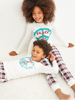 Gender-Neutral Holiday Matching Graphic Snug-Fit Pajama Set For Kids