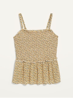 Smocked Floral Sleeveless Swing Top for Women