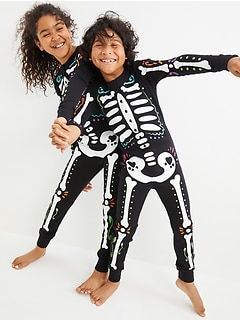 Gender-Neutral Snug-Fit Matching Halloween One-Piece Pajamas For Kids