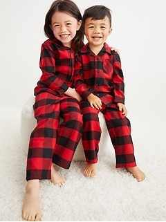 Unisex Matching Flannel Pajama Set for Toddler & Baby