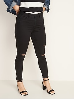 High-Waisted Distressed Rockstar Super Skinny Jeans For Women