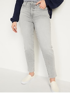 High-Waisted O.G. Straight Button-Fly Gray Cut-Off Jeans for Women