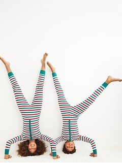 Gender-Neutral Snug-Fit Matching Striped One-Piece Pajamas for Kids