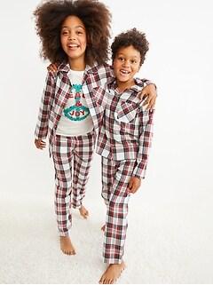 Gender-Neutral Matching Plaid Flannel Pajama Set For Kids