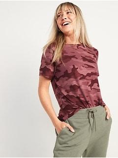 Luxe Camo Slub-Knit T-Shirt for Women