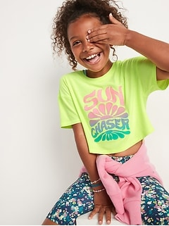 Breathe ON Cropped Graphic T-Shirt for Girls