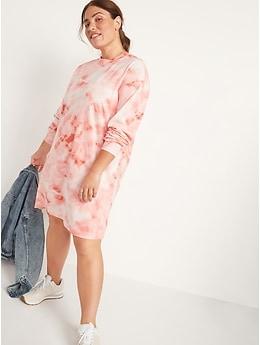 Loose Vintage Tie-Dye Long-Sleeve T-Shirt Shift Dress for Women