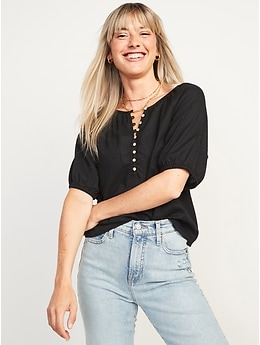 Textured Cotton Dobby Elbow-Sleeve Top for Women