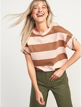 Short-Sleeve Vintage Loose Striped Easy T-Shirt for Women