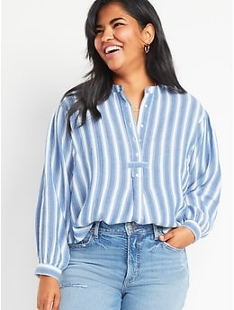 Oversized Striped Long-Sleeve Tunic Blouse for Women
