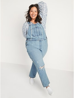Light-Wash Slouchy Straight Workwear Ripped Jean Overalls for Women