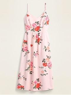 Floral Linen-Blend Fit & Flare Midi Sundress for Women