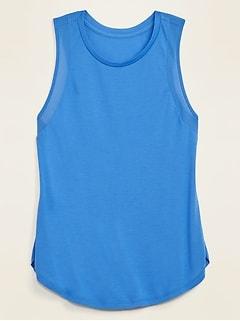 UltraLite Jersey Mesh-Trim Shirttail-Hem Tank Top for Women