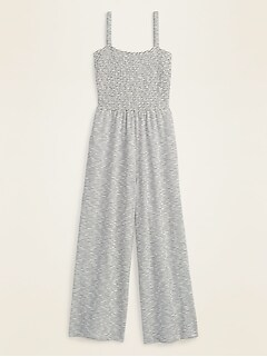 Smocked-Top Textured-Stripe Cami Jumpsuit for Women