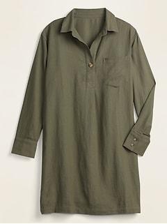 Linen-Blend Shirt Shift Dress for Women