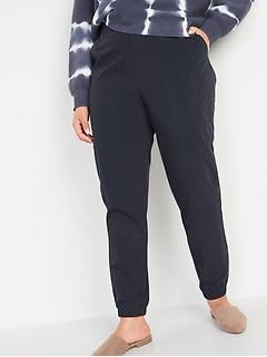 Pantalon de jogging effilé cargo en popeline à taille haute pour Femme