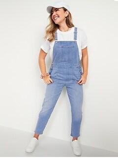 O.G. Straight Medium-Wash Jean Overalls for Women