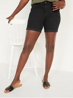 Mid-Rise Cuffed Black Jean Shorts for Women -- 5-inch inseam