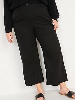 Jupe-culotte à taille haute en mélange de lin