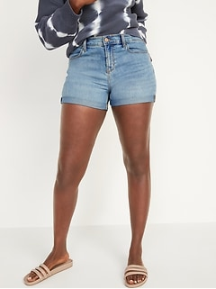 Mid-Rise Medium-Wash Jean Shorts for Women -- 3-inch inseam