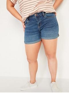 Mid-Rise Dark-Wash Jean Shorts for Women -- 3-inch inseam