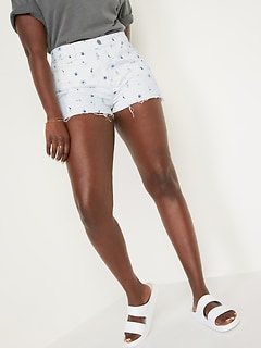 High-Waisted O.G. Straight Floral Button-Fly Cut-Off Jean Shorts for Women -- 1.5-inch inseam