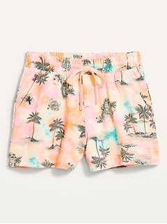 High-Waisted Printed Cali-Fleece Shorts for Women -- 3-inch inseam