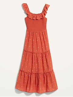 Fit & Flare Smocked Embroidered Midi Dress For Women
