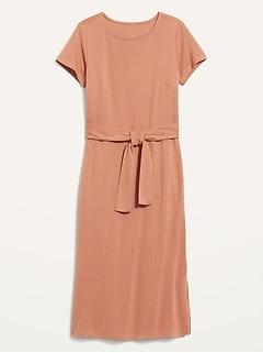 Ponte-Knit Tie-Belt Midi Sheath Dress for Women
