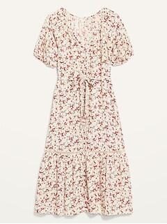 Floral Tiered Tie-Belt Shift Dress for Women