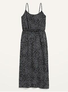 Waist-Defined Leopard-Print Slub-Knit Midi Cami Dress for Women