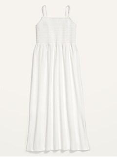 Smocked Slub-Knit Fit & Flare Cami Midi Dress for Women