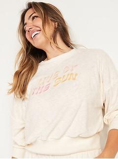 Loose Cropped Long-Sleeve Performance Slub-Knit Terry Sweatshirt for Women
