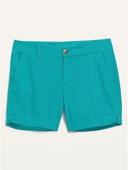 Mid-Rise Linen-Blend Everyday Shorts for Women -- 5-inch inseam