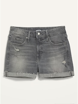 High-Waisted O.G. Straight Ripped Gray Cut-Off Jean Shorts for Women -- 3-inch inseam