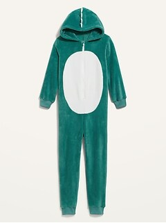 Gender-Neutral Micro Fleece Hooded One-Piece Critter Pajamas For Kids