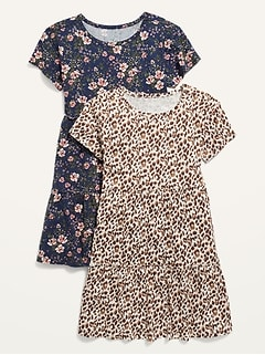 Tiered Printed Short-Sleeve Dress 2-Pack for Girls