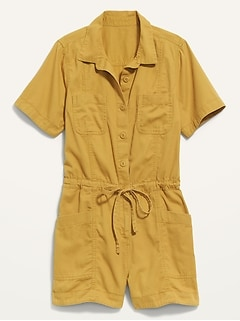 Waist-Defined Short-Sleeve Specially-Dyed Utility Romper for Women -- 3.5-inch inseam