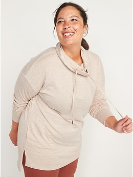 Cowl-Neck Mélange Tunic Sweater for Women